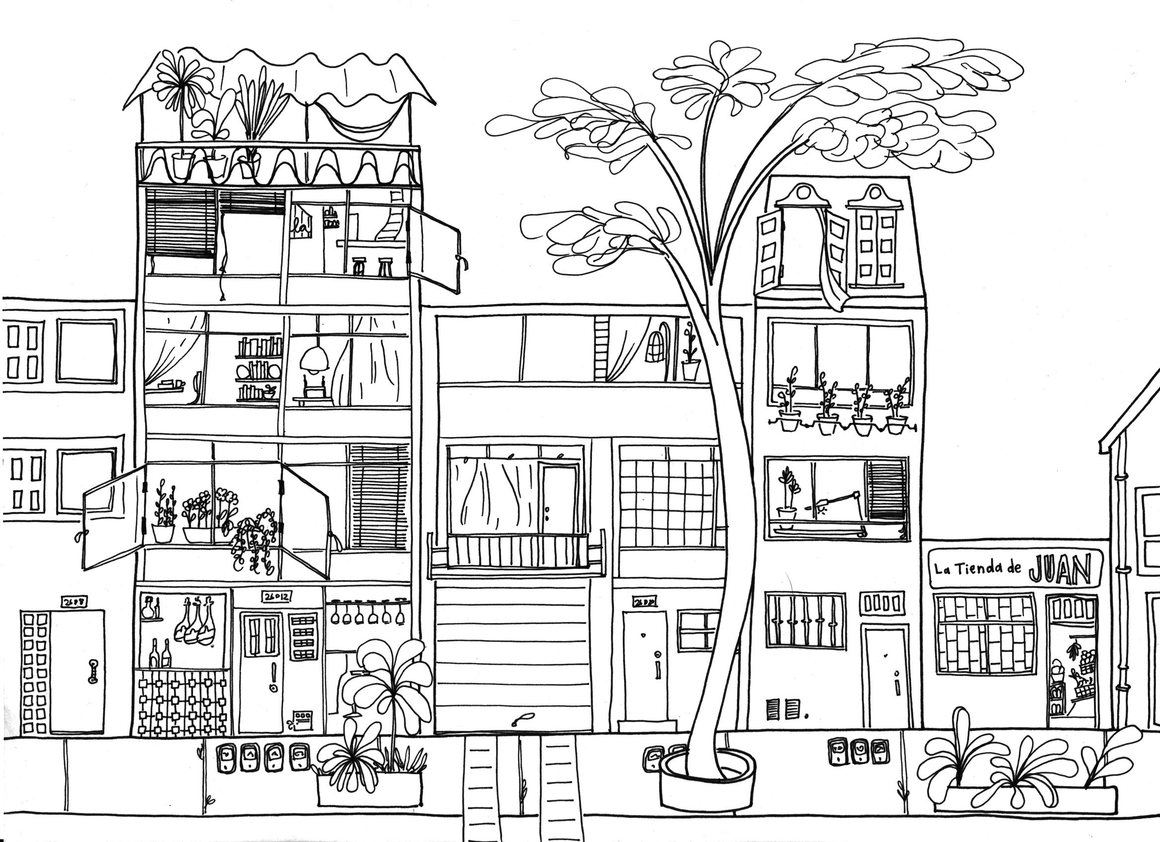 Dibujos para colorear sobre mi barrio - Imagui