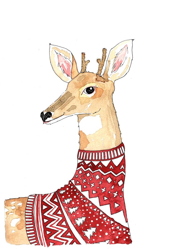 christmas card-deer