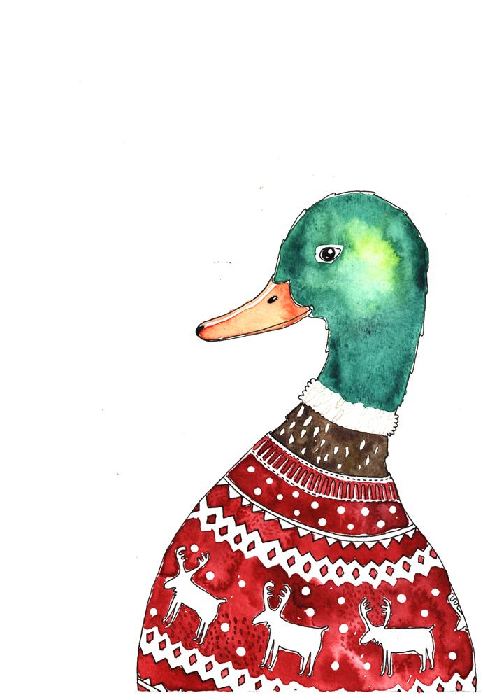 christmas card-duck