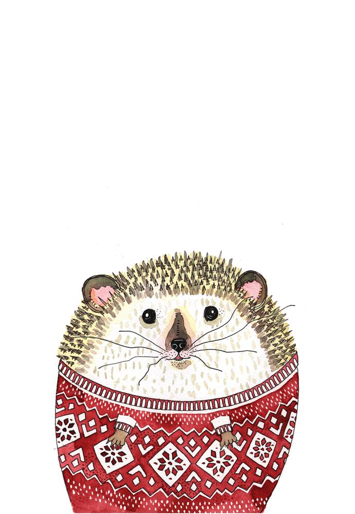 christmas card-hedgehog