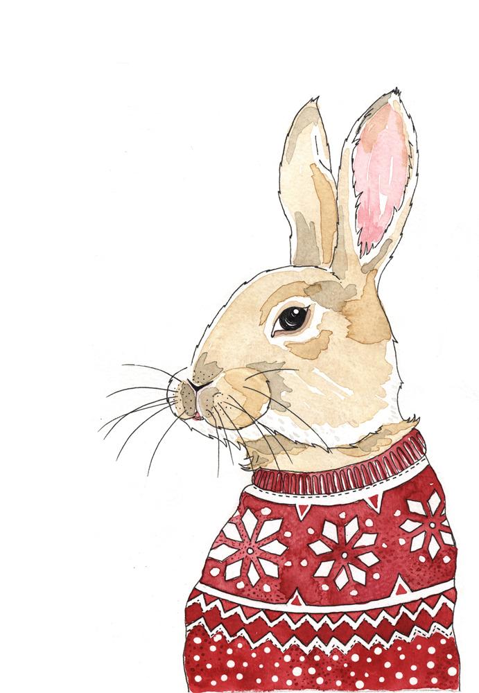 christmas card-rabbit