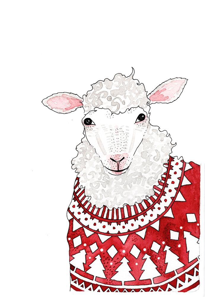 christmas card-sheep