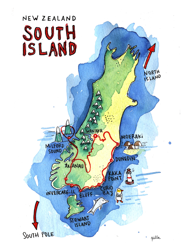 Map New Zealand South Island.South Island New Zealand Marcelillapilla